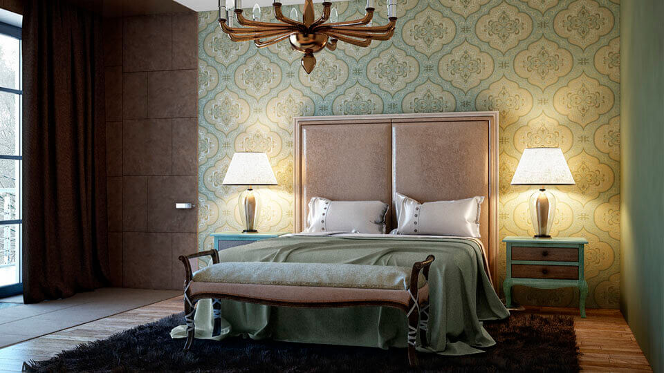 quarto de casal com papel de parede arabesco