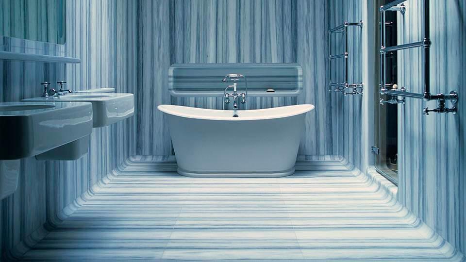 papel de parede para banheiro - listrado