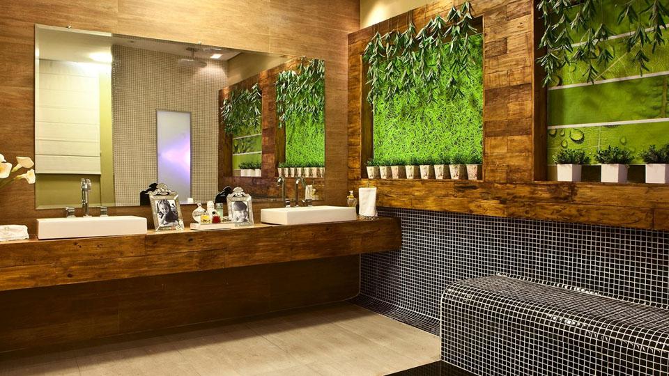 papel de parede para banheiro - madeira