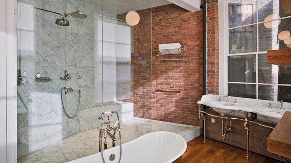 papel de parede para banheiro - tijolo