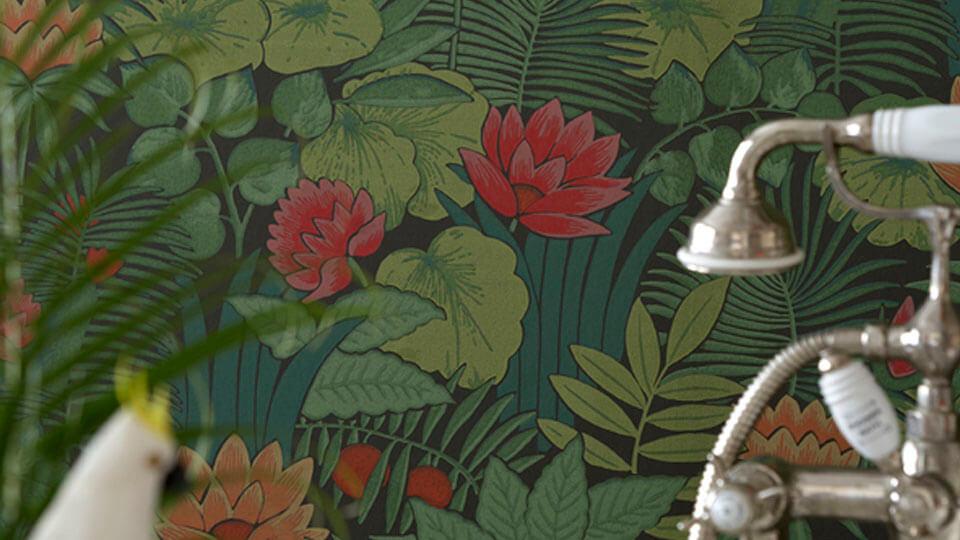 papel de parede para banheiro - floral