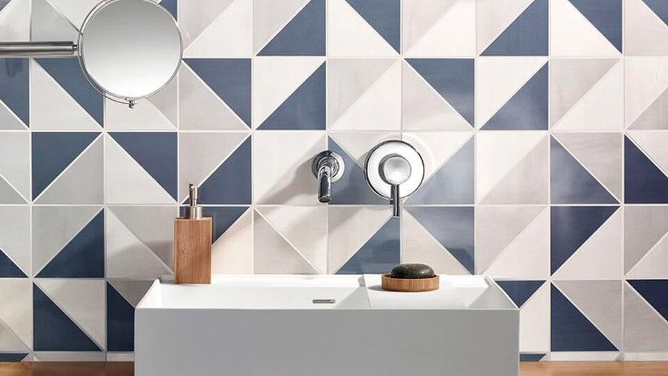 papel de parede para banheiro - geométrico