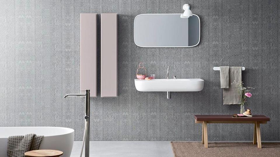 papel de parede para banheiro - geometrico