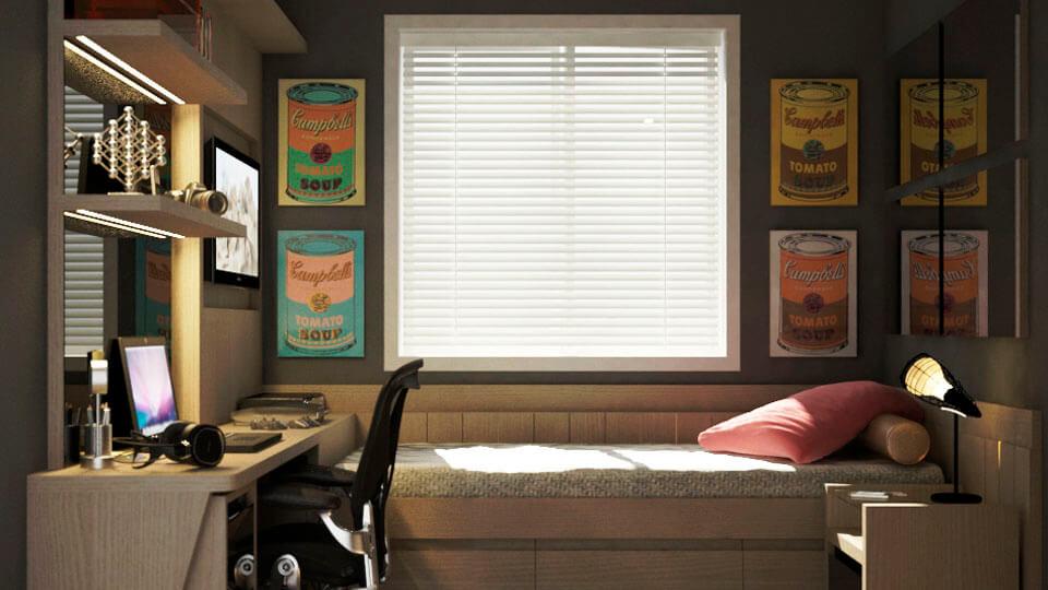 quarto de solteiro com papel de parede - masculino e feminino