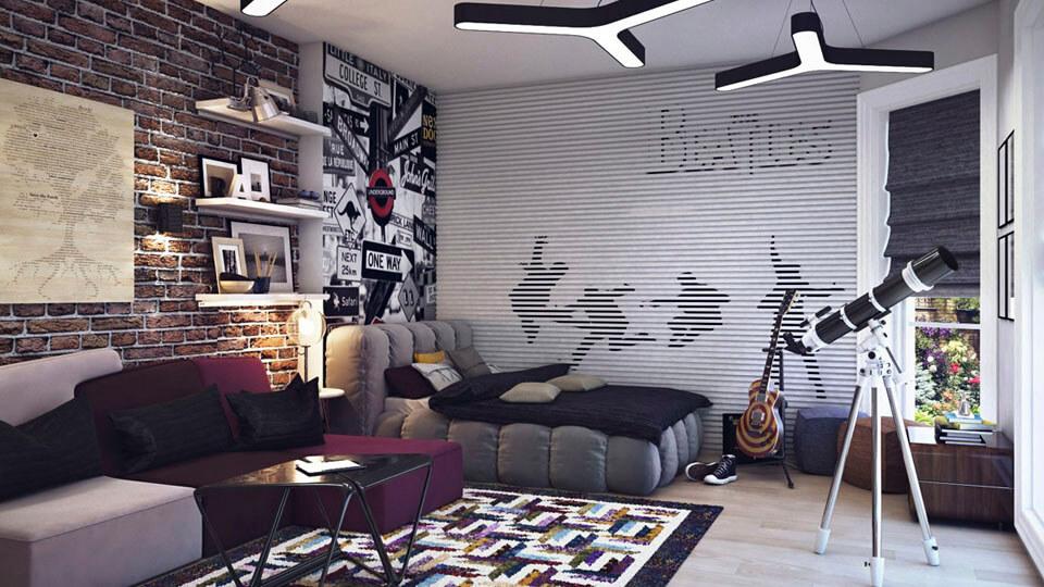 quarto de solteiro com papel de parede - tijolo