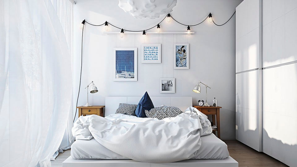 quarto de solteiro com papel de parede - texturizado