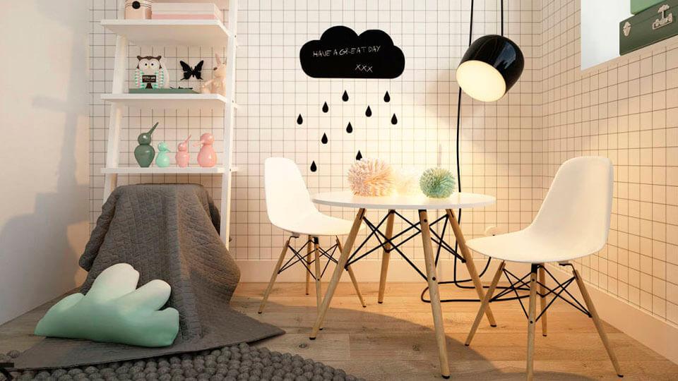 quarto de menina com papel de parede geometrico