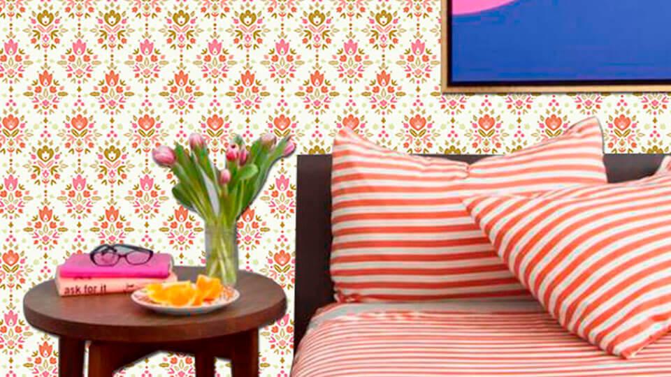 quarto de solteiro com papel de parede - damask