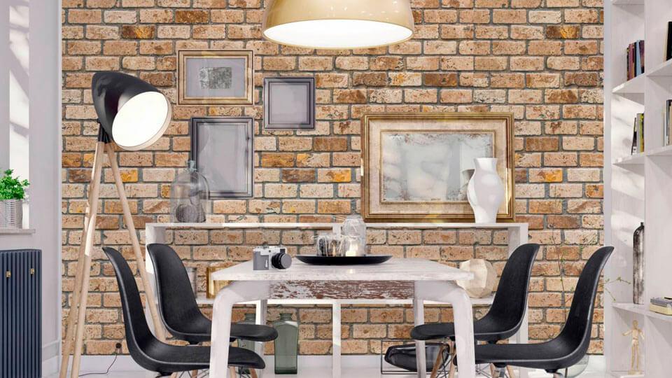 papel de parede rustico - tijolos