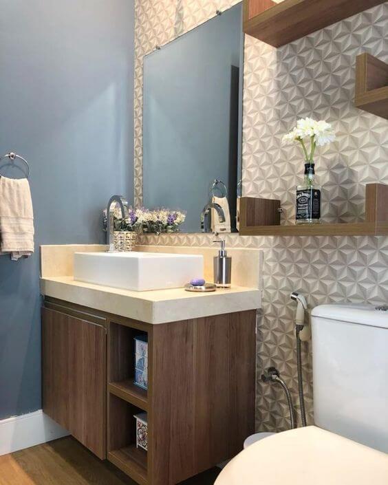 papel de parede para banheiro branco 3d