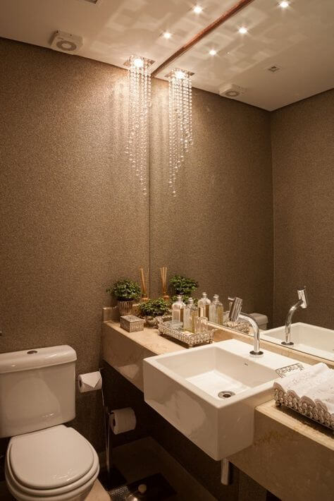 papel de parede para banheiro cimento marron