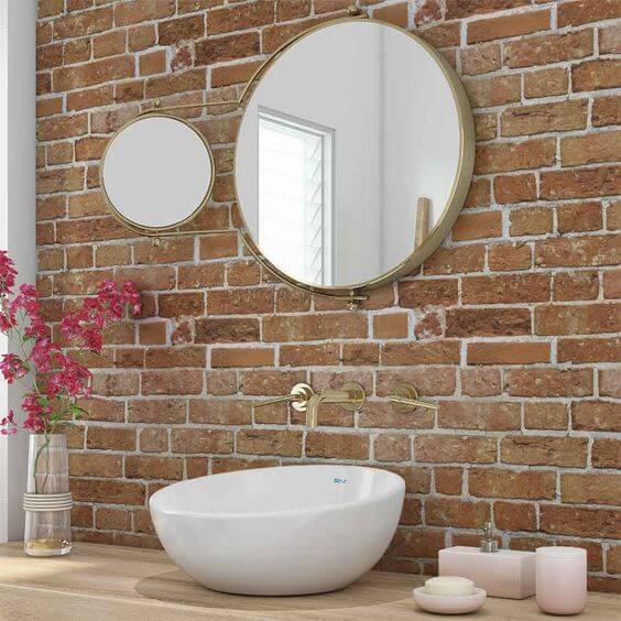 papel de parede para banheiro tijolos