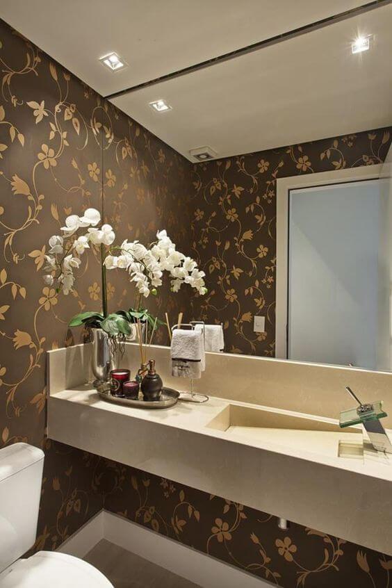 papel de para para banheiro - floral dourado