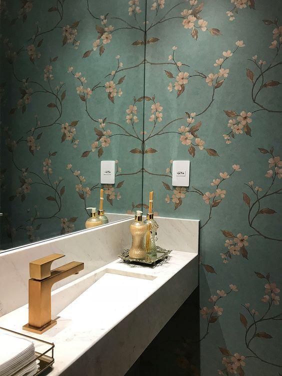 papel de parede para banheiro floral verde
