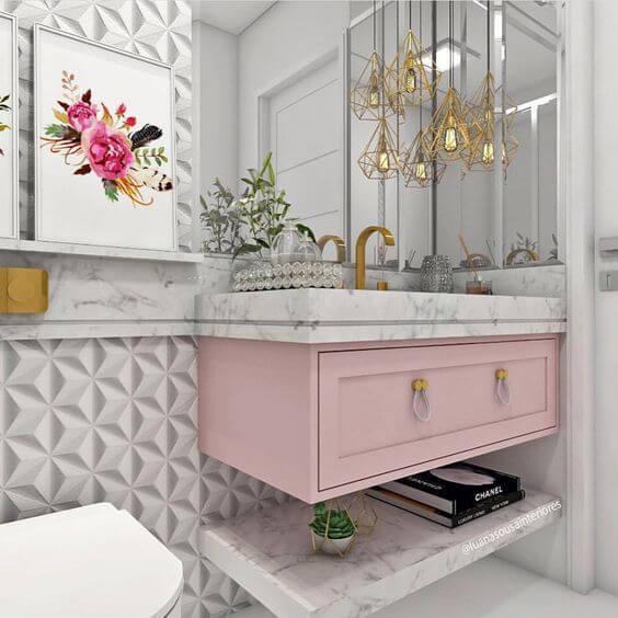 papel de parede para banheiro geométrico 3d