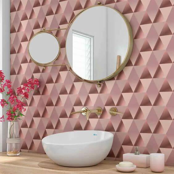papel de parede para banheiro geométrico rosa