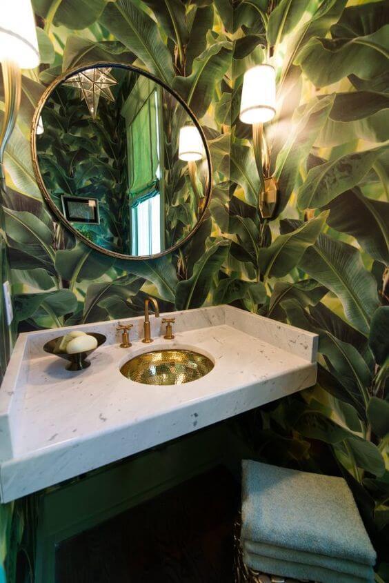 papel de parede para banheiro planta 3d