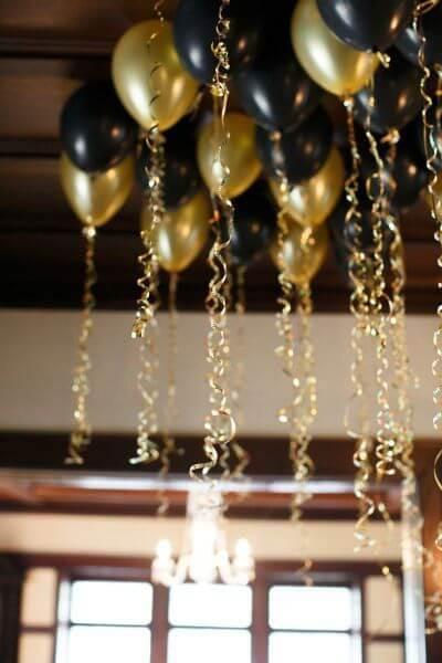decoração com balões para ano novo