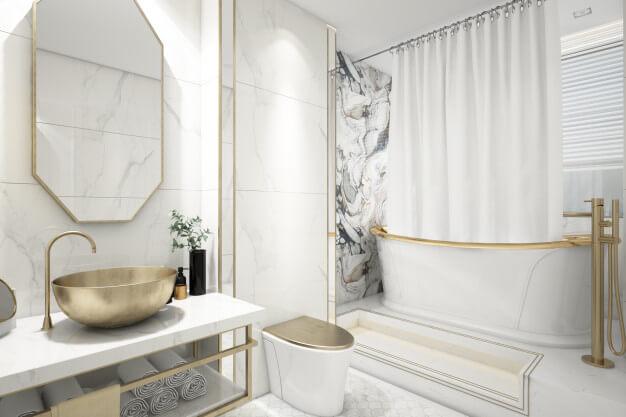 banheiro com parede diferente na decoração