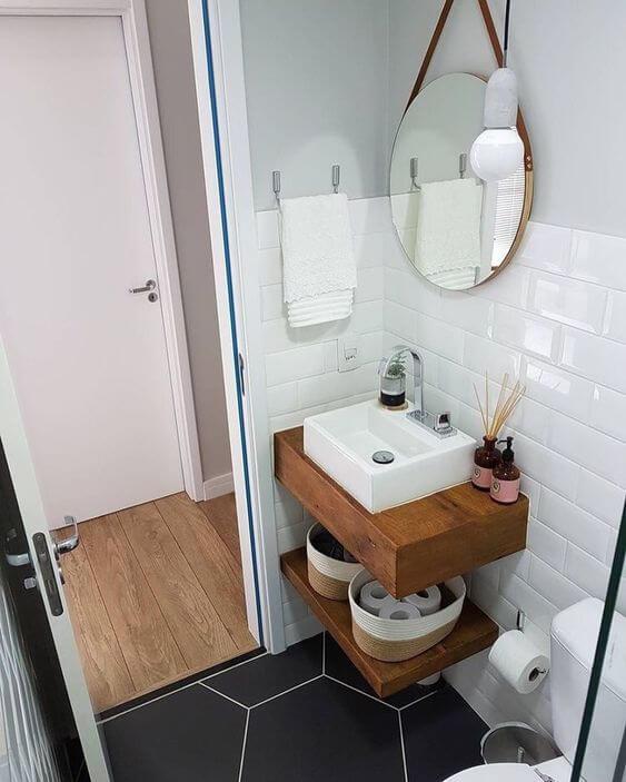 decoração com piso vinílico no banheiro