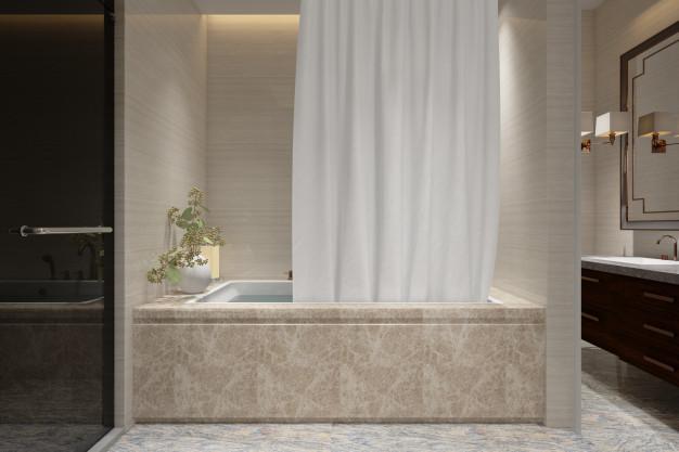 decoração de banheiro com piso vinílico